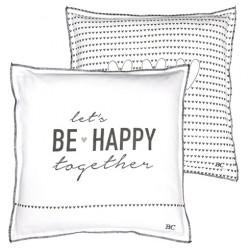 Polštář BE HAPPY, bílá, 50x50 cm