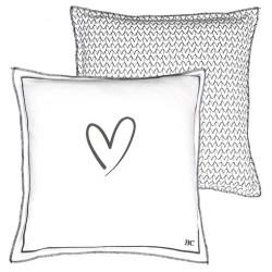 Polštář, srdce, bílá, 50x50 cm
