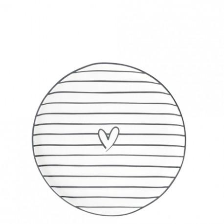 Talíř dezertní SRDCE s pruhy, 16 cm