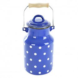 Konvice na mléko smalt modrý puntík 2 l